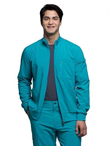 CHEROKEE Infinity Men 'Men's Zip Front Jacket, CK305A, M, Teal Blue
