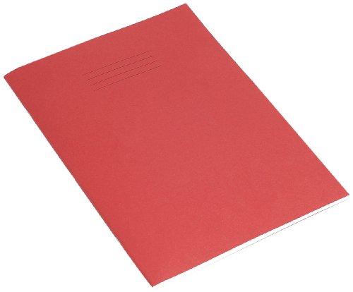 RHINO-Libro per esercizi con 80 pagine bianche, formato A4, colore: rosso (Confezione da 10)
