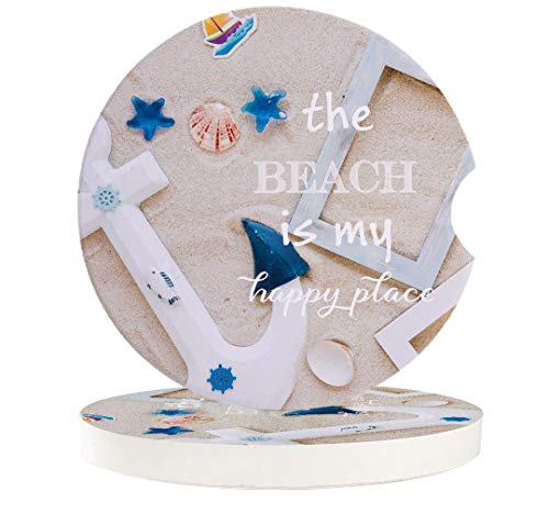 6 Pcs Car Coasters Absorbent Ceramic for Drink - Nautical Anchor the Beach is My Happy place - Best Interior Decorative Cupholder for Car Accessory