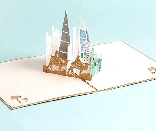 uniqueplus Dubai Thema Creative 3D Pop up Grußkarte Kirigami Geschenk Karten für Geburtstag, Vatertag, Weihnachten, Jahrestag, Hochzeit oder jeden Anlass