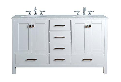 Stufurhome GM-6412-60PW-CR 60-Inch Malibu Pure White Double Sink Bathroom Vanity
