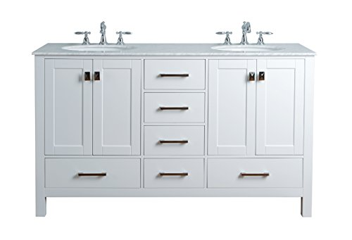 Stufurhome GM-6412-60PW-CR 60-Inch Malibu Pure White Double Sink...