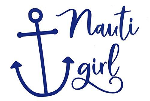 Custom Vinyl Nauti Girl Boat Anchor Decal, Nautical Love Bumper Sticker, for Tumblers, Laptops, Car Windows