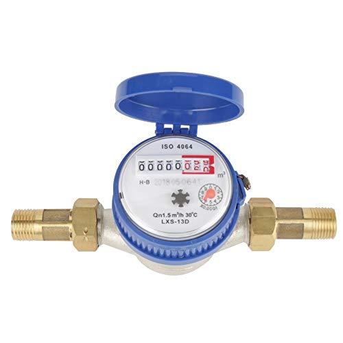DEWIN Wasserzähler - 15mm 1/2 Zoll Kaltwasserzähler mit Armaturen for den Garten- und Heimgebrauch