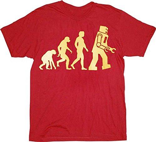 The Big Bang Theory Robot Evolution Red T-Shirt Tee (XX-Large)