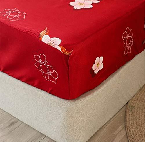 Chickwin Blumen Drucken Spannbetttuch für Boxspringbett, Rutschfestem Spannbettlaken Mikrofaser Matratzenschoner bis 30cm Hohe für Matratzen in Vielen Größen (Rote Blume,180x200+30cm)
