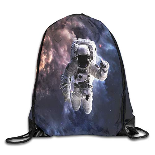 Drawstring Backpack Sports Gym Bag for Women Men, D0516 Realistic Space Suit In Space Hovering In Emptiness Space Clouds Stars