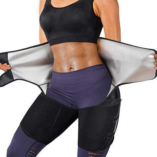 YERKOAD Sauna Sweat Waist Trimmer Thigh for Women & Men Weight Loss Body Shaper Tummy Control Waist Trainer Workout Belt(Black, Large)