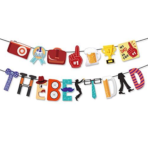 Pancarta de Cumpleaños, Pancarta de Feliz Cumpleaños Guirnalda de Banderines de Cumpleaños Decoración para Fiesta de Cumpleaños Tema Del Día Del Padre (Color)