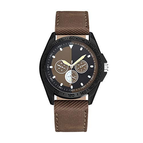 HEling Reloj de cuarzo unisex para adultos, resistente al agua, sin marcas, con tres ojos, digital, subdial, informal, reloj de pulsera de cuarzo, regalo para negocios