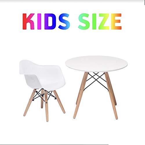 Buschman Muebles para Niños | Conjunto de Mesa y Sillas | 1 Asiento de Plástico con Brazos y 1 Mesa Redonda de MDF | Estilo Moderno, Ergonómico, Pies de Madera, Base de Acero | Blanco Mate