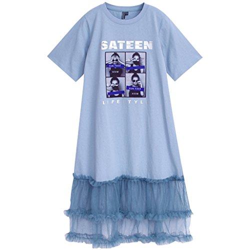 YaNanHome Kleid-weibliches Koreanisches Artnetz des Sommers kleiden Kleid des feenhaften Rockes des leichten Stils (Color : Blue, Size : S)