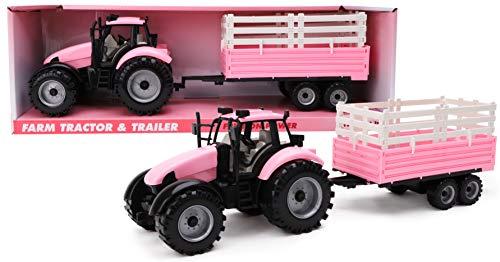 Toyland® Reibungsbetriebener Traktor mit Anhänger - Rosa - Boys Farm Toys