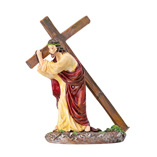 VORCOOL Jesus Cross Crucifix Figurines Religious Statues Christian Ornament Holy Catholic Crafts for Home Office Easter Decoration