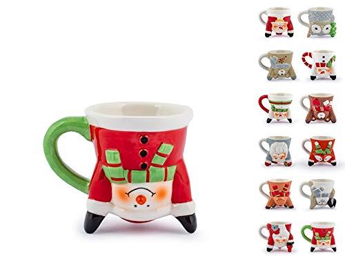 H&H Juego de 6 tazas de cerámica decoradas para café, gran idea de regalo, set de divertidas tazas para bebidas calientes con motivos navideños, no incluye el plato base capacidad 60 cl, Multicolor