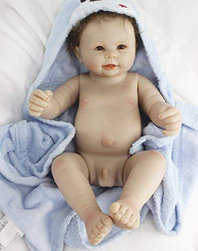 Reborn Baby Dolls Full Body Silicone Baby Boy Eyes Open Realistic Cute Doll 22 Inches Washable Toy Dolls Anatomically Correct Toddler Gifts Set