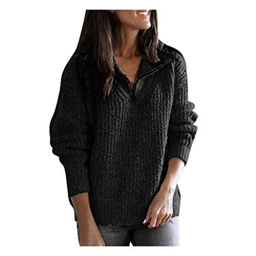 GOKOMO Damen Wintermode Langarm Revers Lässig Einfarbig TopDamen Wintermode Langarm Urlaub einfarbig Pullover Top Bluse(Schwarz,Medium)