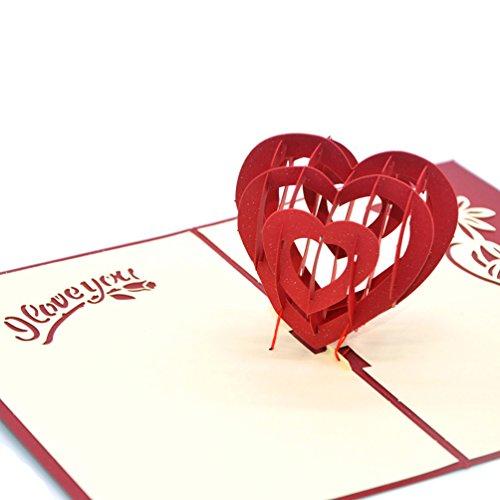 amanti della coppia regali Medigy drago e fenice portando Auspiciousness Handmade 3D Pop Up biglietti di auguri biglietti di invito per matrimonio