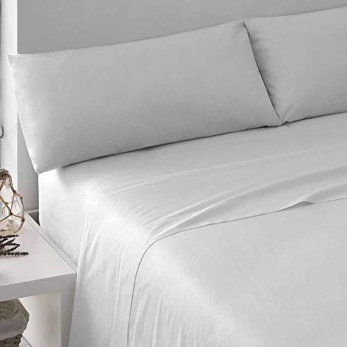 PimpamTex – Set di Lenzuola di 100% Cotone per Letto – (Singolo, Tintura Blanco)