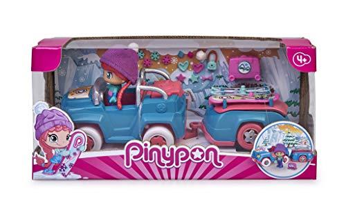 Pinypon- Coche Nieve con Remolque, muñeca esquí vehículo, Juguete (Famosa 700015772)