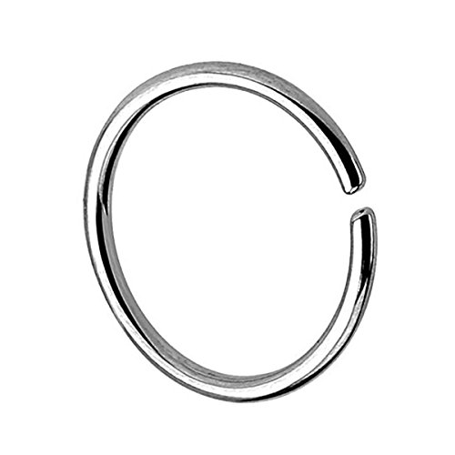 Piersando Continuous Piercing 925 Silber Fake Hoop Ring für Septum Ohr Tragus Helix Nase Lippe Ohr Nasenpiercing Nasenring Silber 0,8mm x 10mm