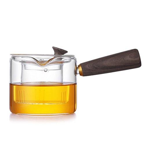 Olla de té de cristal con mango de madera, mini hervir té y cafetera, tetera de cristal resistente con filtro de revestimiento de vidrio para hogar y oficina GYBL458 (400 ml)