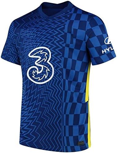 GOLDEN FASHION Blue Jersey Set Home Football Jersey 2021-22 for Men Women Adult