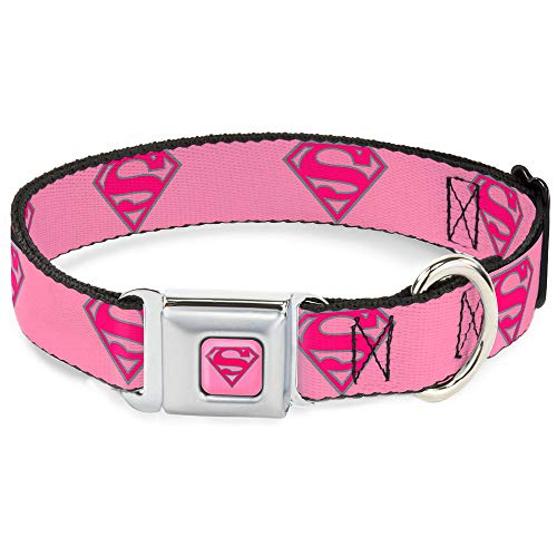Buckle-Down Dog Collar Seatbelt Buckle Superman Shield Pink, Multi Color, 1.5' Wide - Fits 13-18' Neck - Small (DC-WSM006-WS)
