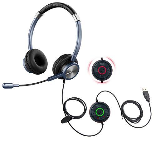 emaiker USB Headset mit Geräuschunterdrückung Mikrofon PC Kopfhörer mit Satus Anzeige Mic Stummschaltung Ruftaste für Büro Callcenter Skype Chat Teams Zoom Dragon Spracherkennung Sprachdiktation