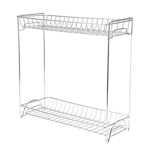 Organizador de especias para encimera, organizador de condimentos de metal de 2 niveles para gabinetes, organizador de encimera de cocina para gabinete de cocina, baño, oficina