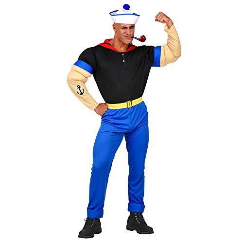 Widmann 02560 02560-Kostüm Starker Seemann, Shirt mit Muskelarmen, Hose mit Gürtel, Mütze, Matrose, Mottoparty, Karneval, Herren, Mehrfarbig, (XXL)