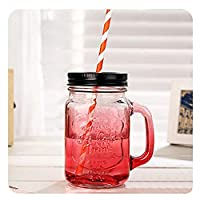 QIXIAOCYB 5ピースガラスの飲み物の瓶の蓋と再利用可能なストロー、15オンスマゾンスタイルのジャム瓶グラス、スムージービールのコーヒーカップ、ナッツ穀物キャンディー貯蔵タンク (Color : 5 Red Cups)