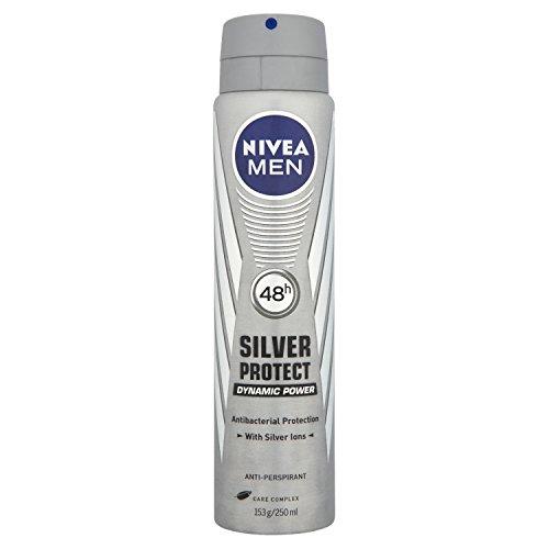 NIVEA MEN Silver Protect Antibacterial Aerosol Antiperspirant Deodorant Spray, 250 ml
