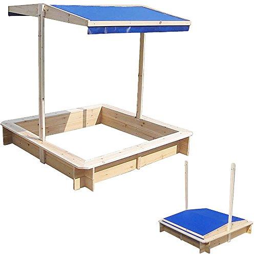 Melko Sandkasten mit verstellbarem Dach 120 x 120 x 120 cm Sandbox Sandkiste (Blau)