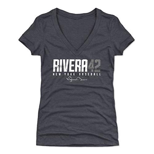 500 LEVEL Mariano Rivera Shirt for Women (Women's V-Neck, Large, Tri Navy) - New York Shirt for Women - Mariano Rivera Elite S WHT