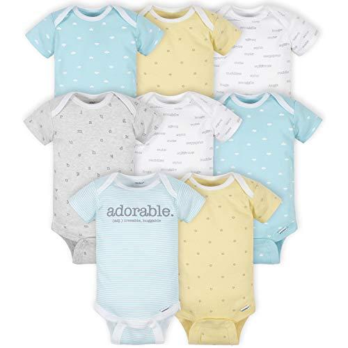 Gerber Baby 8 Pack Short-Sleeve Onesies Bodysuits Multi-Pack, Words Grey, 3-6 Months