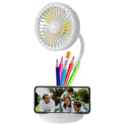 Wanxian Lámpara de Ventilador de Escritorio 2600mAh Batería Rrecargable USB Ventilador Personal 3 Velocidades 3 Brillo de Luz Pequeño LED Lámpara Ventilador de Mesa