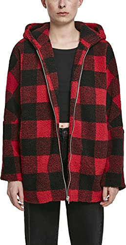 Urban Classics Ladies Hooded Oversized Check Sherpa Jacket Chaqueta, Multicolor (Fire Red/Blk 01440), Small para Mujer