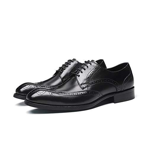 WMZQW Herren Anzugschuhe Oxford Lederschuhe Derby Business Casual Hochzeit Schnürhalbschuhe Schuhe 37-46,Schwarz,37
