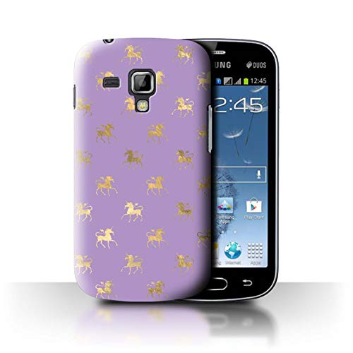 eSwish Carcasa/Funda Dura para el Samsung Galaxy Trend Plus/S7580 / Serie: Patrón Princesa Mágica - Brincando Unicornios Oro