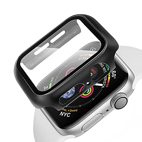 CELLONIC 2x 1 in 2 40mm Compatible Apple Watch Series 4 Series 5 Series 6 Series SE PC Frame, Cover and Screen Protector and Apple Watch Case – 9h Tempered Glass, Shockproof, Scratch Resistant