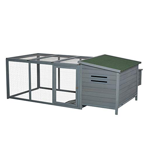 PawHut 87' Deluxe Chicken Coop Wooden Hen House Rabbit Hutch Poultry Cage Pen Backyard with Large Outdoor Run, Indoor Nesting Box, & Fir Wood Build, Grey