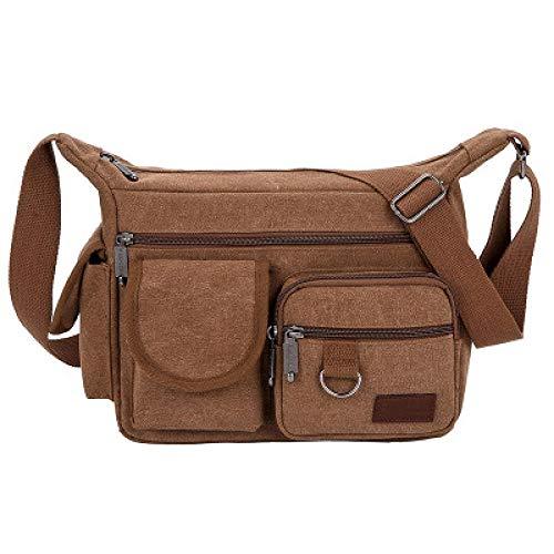 BeniCasual one-shoulder messenger bag men's bag multi-zipper canvas bag large-Brown big