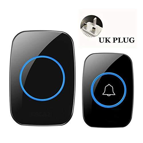 Draadloze waterdichte deurbel 1 knop 2 ontvangers 300 m afstandsbediening Smart snoerloze huisdeurbel 60 klokkenspel VS EU UK stekker 1x1UK zwart