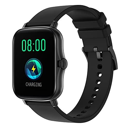 Reloj Inteligente Rastreador De Ejercicios Pulsera Deportiva 2021 Hombres Mujeres Reloj Inteligente Pantalla De 1.7 Pulgadas Reloj Inteligente Impermeable Para Teléfonos Iphone / Android,Negro