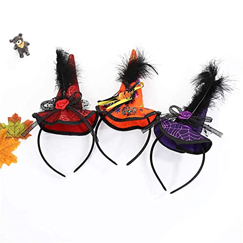 Fascigirl Diadema De Bruja Faux Feather 3PCS Divertido Encantador Moda Decorativo Novedad Aro De Pelo Diadema De Vacaciones para Festival De Halloween Cabeza De Tocado