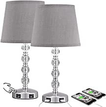 Touch Control 3 Way Dimmable Crystal Table Lamp with 2 USB Charging Ports, Acaxin 17.7Inch Bedside Light with Mordern Gray Fabric Shade, Bed Lamp for Bedroom, Living Room, Guest Room(Bulb Included)