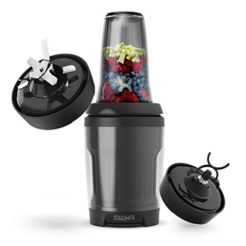 PROMiXX MiiXR X7 Smoothie Blender - with Performance Nutrition Protein Mixer X-Blade - Highly Efficient 700W - 7 Piece Set - Black