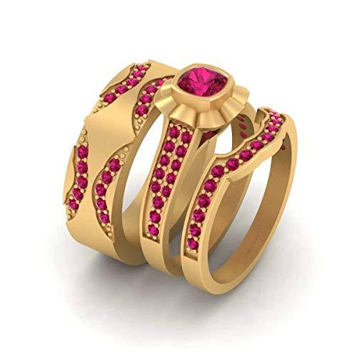 Anillo de boda floral conjunto de anillos de boda rosa rubí a juego anillo regalo oro amarillo Fn 925 plata de ley