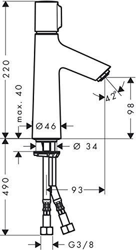 Hansgrohe – Waschtisch-Einhebelarmatur, ohne Ablaufgarnitur, Select, Chrom, Serie Talis Select S - 5